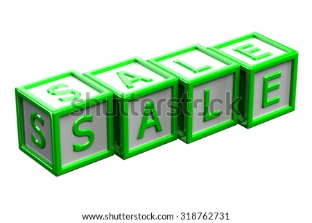 Blocks with word sale, isolated on white background.