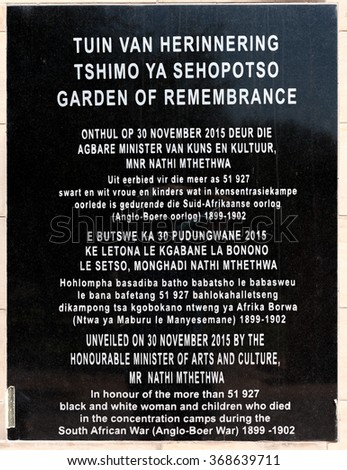 BLOEMFONTEIN, SOUTH AFRICA, JANUARY 26, 2016: Plaque at the Garden of remembrance at the Womens Memorial to commemorate the women and children who died in the Anglo Boer War 1899 to 1902