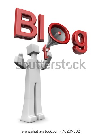Blog and freedom of speech concept man speak with a megaphone announcement concept 3d illustration - stock photo