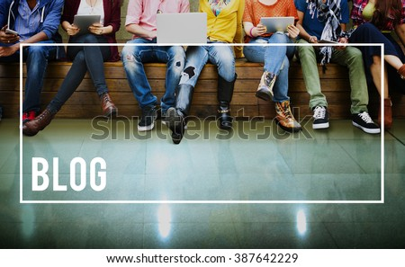 Blog Blogging Content Social Media Network Homepage Concept - stock photo