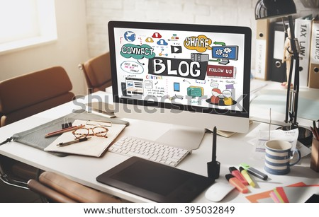 Blog Blogging Social Media Social Networking Online Concept - stock photo