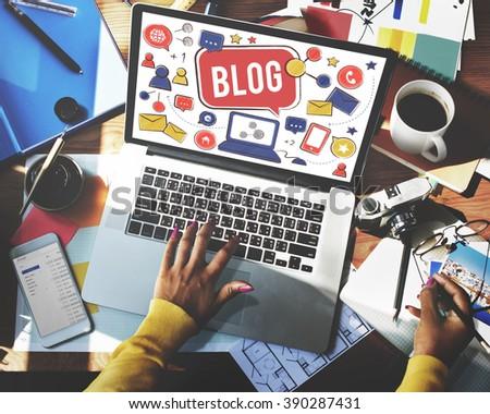 Blog Blogging Social Network Online Internet Concept - stock photo