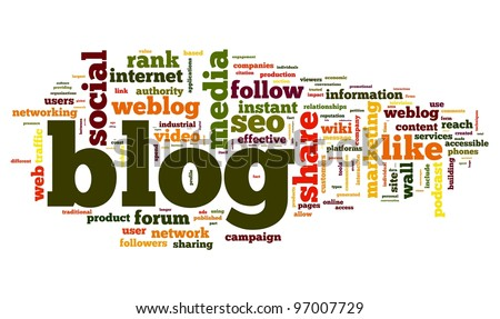 Blog concept in word tag cloud isolated on white background - stock photo