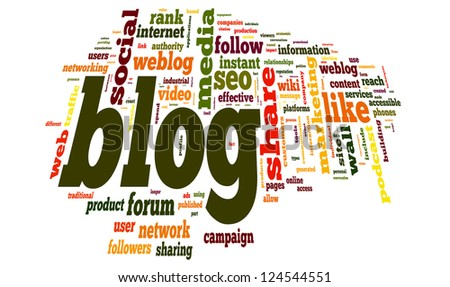 Blog concept in word tag cloud on white background - stock photo