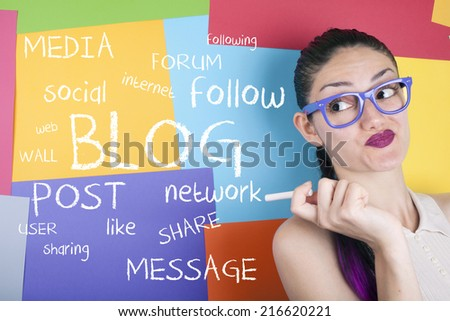 Blog concept with young woman - stock photo