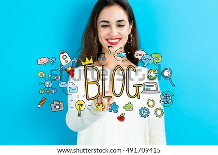 Blog concept with young woman on blue background