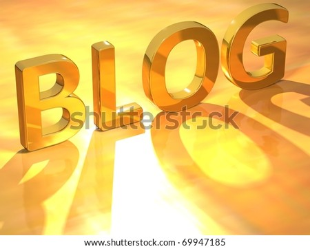 Blog Gold Text - stock photo