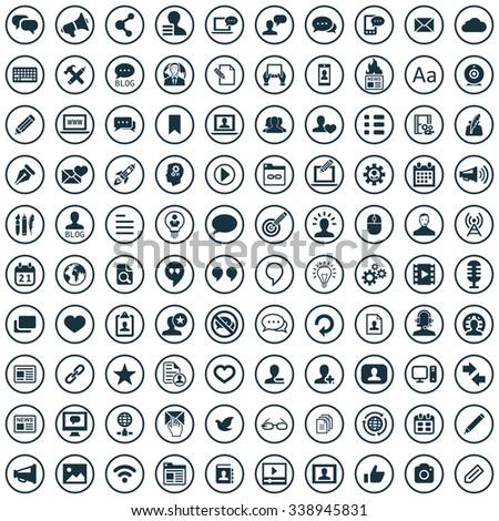 blog 100 icons universal set for web and mobile
