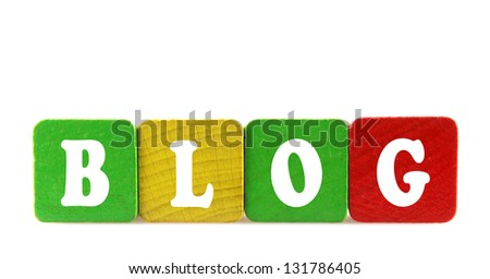 blog - isolated text in wooden building blocks - stock photo