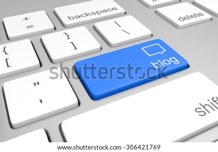 Blog key on a computer keyboard for easy access to weblogging - stock photo