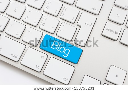 Blog key on a white keyboard - stock photo
