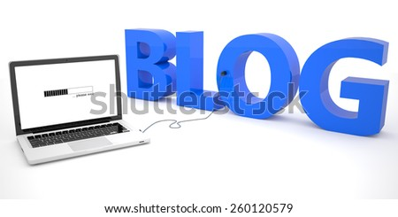 Blog - laptop computer connected to a word on white background. 3d render illustration. - stock photo
