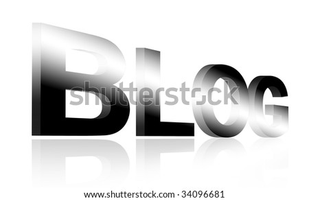 Blog letters on chrome over white background. Illustration