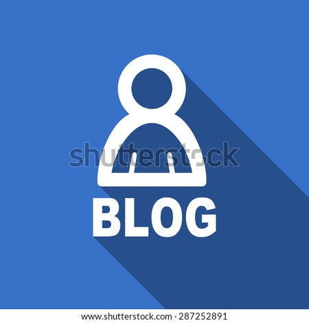 blog modern flat icon with long shadow   - stock photo