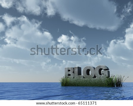 blog monument at the ocean - 3d illustration