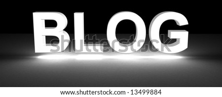 blog section title made of 3D glowing white letters