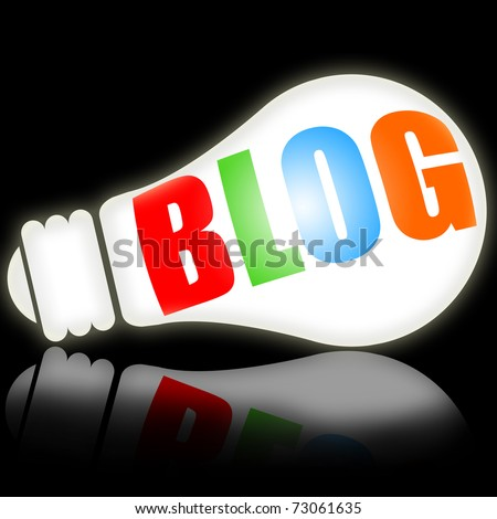 Blog, social media concept with bright electric lamp vs black background - stock photo