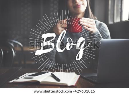 Blog Social Media Information Connect Concept - stock photo