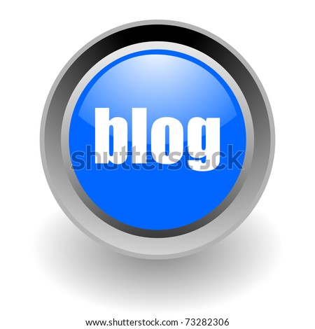 blog steel glosssy icon - stock photo
