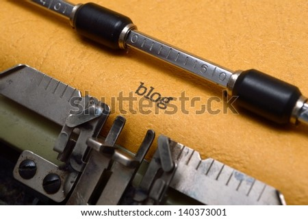 Blog text on typewriter - stock photo
