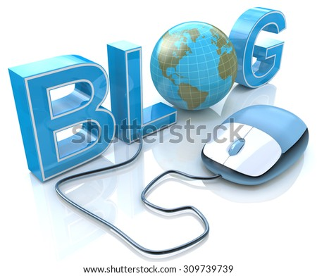 Blog Text with Earth Globe and Computer Mouse  - stock photo