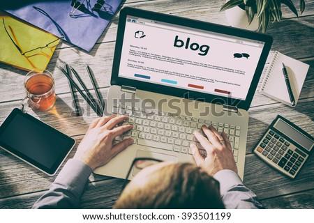 Blog Weblog Media Digital Social Dictionary Online Concept - Stock Image - stock photo