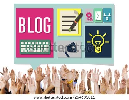 Blog Weblog Media Online Messaging Notes Concept - stock photo