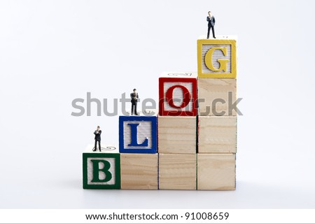 Blog word and business man toy - stock photo
