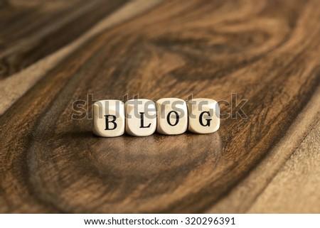 BLOG word background on wood blocks - stock photo
