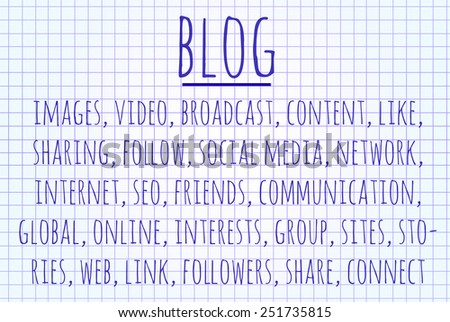 BLOG word cloud written on a piece of paper - stock photo