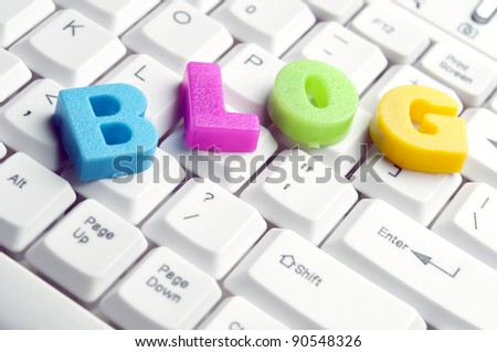 Blog word made by colorful letters on keyboard - stock photo