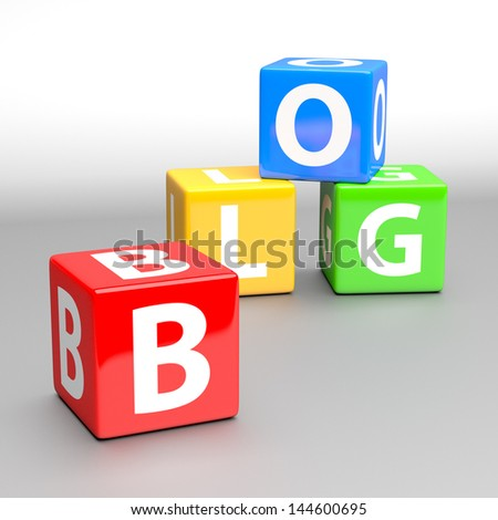 blog word made of colorful toy blocks