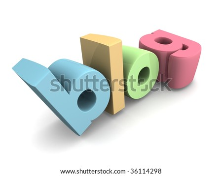 Blog word with white background 3d illustration - stock photo