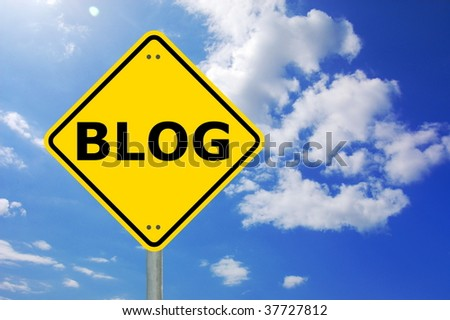 blog written on yellow traffic sign showing internet concept