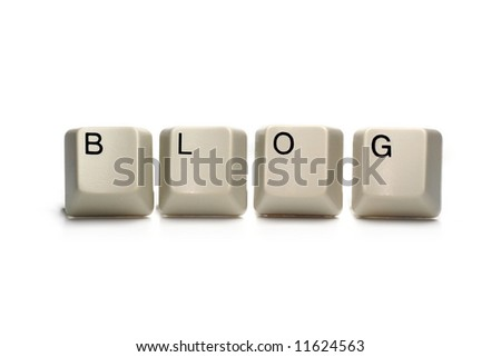 blog written with computer keys, isolated on white