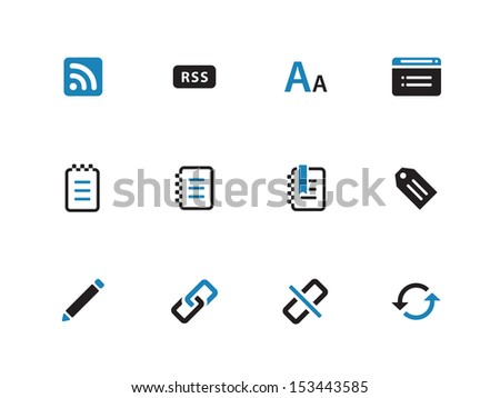 Blogger duotone icons on white background. See also vector version.