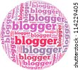 Blogger info-text graphics and arrangement concept on white background (word cloud) - stock photo