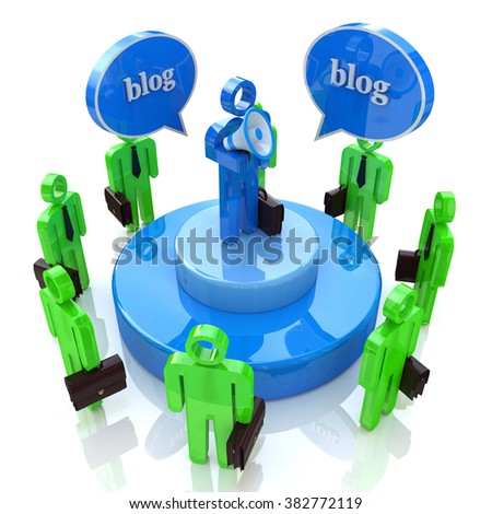Blogger with Bullhorn and Audience in the design of the information associated with the communication on the Internet