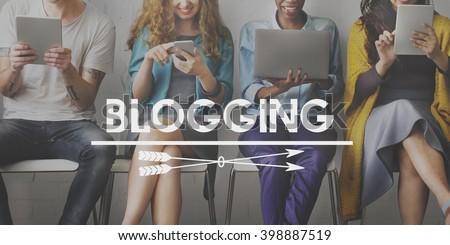 Blogging Post Connect Social Media Website Concept - stock photo