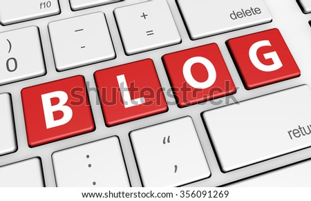 Blogging web and Internet concept with blog sign on computer keyboard. - stock photo