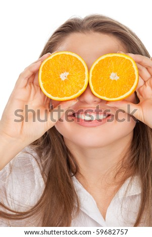 blond and cute girl with orange - stock photo