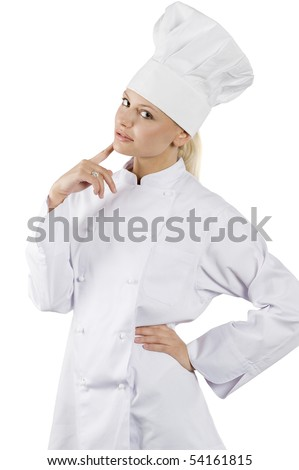 blond and young woman in white chef dress with hat in act to think