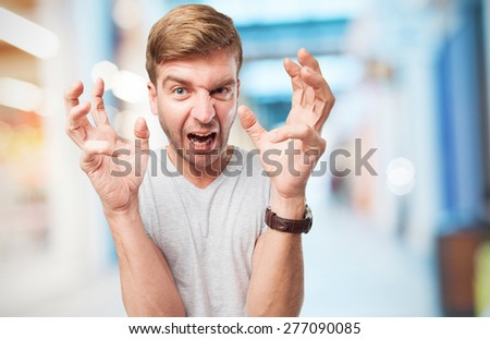 blond angry man - stock photo