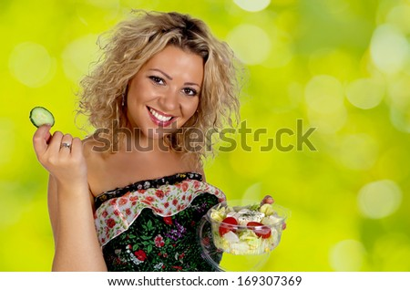 Blond attractive smiling young woman