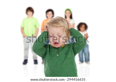 Blond baby worried with his brothers of background isolated - stock photo