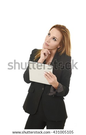 blond beautiful businesswoman holding digital tablet pad wearing business suit  looking thoughtful and pensive isolated on white background - stock photo