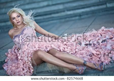 Blond beautiful luxury woman - stock photo