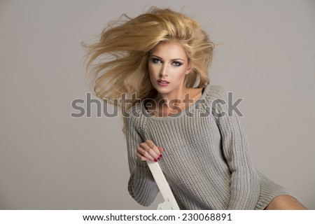 Blond beauty wear sweatshirt  - stock photo