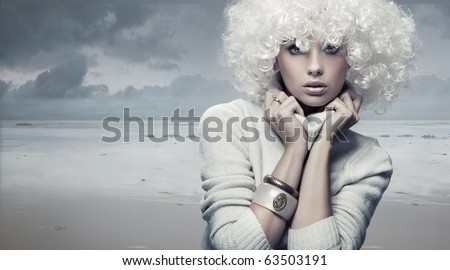 Blond beauty woman - stock photo