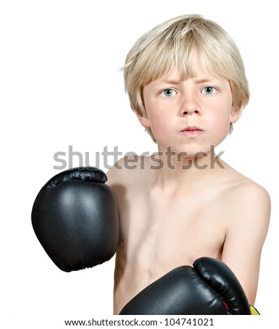 blond boy boxing - stock photo